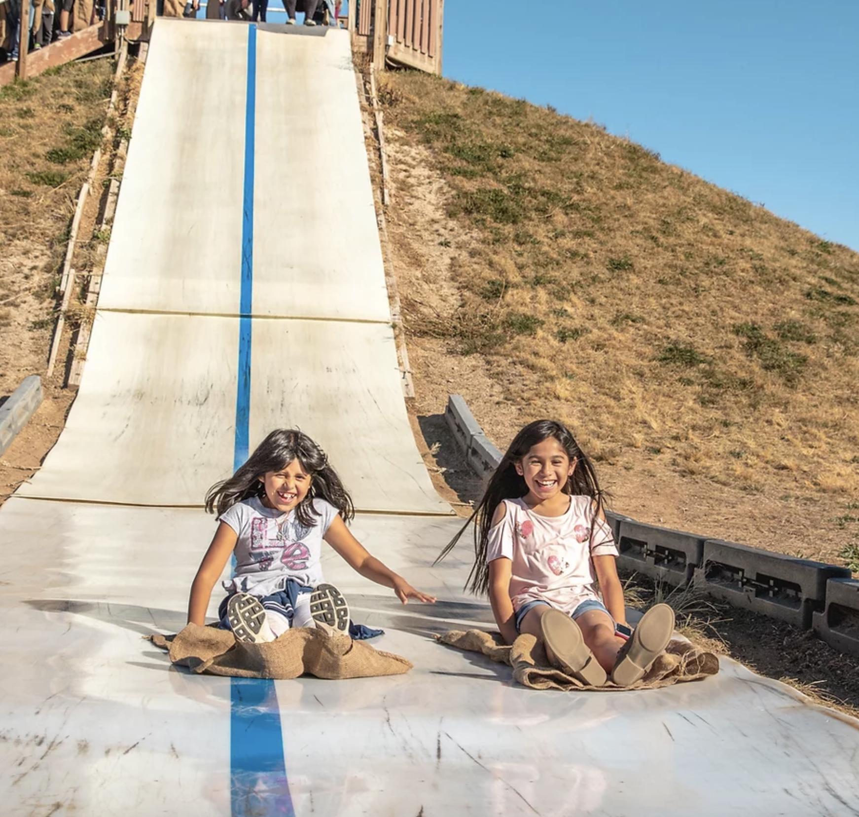 Two girls sliding down slide at Fritzler Farm