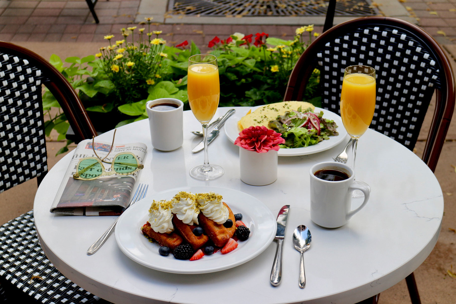 Brunch and Mimosas on patio of Ace Cafe