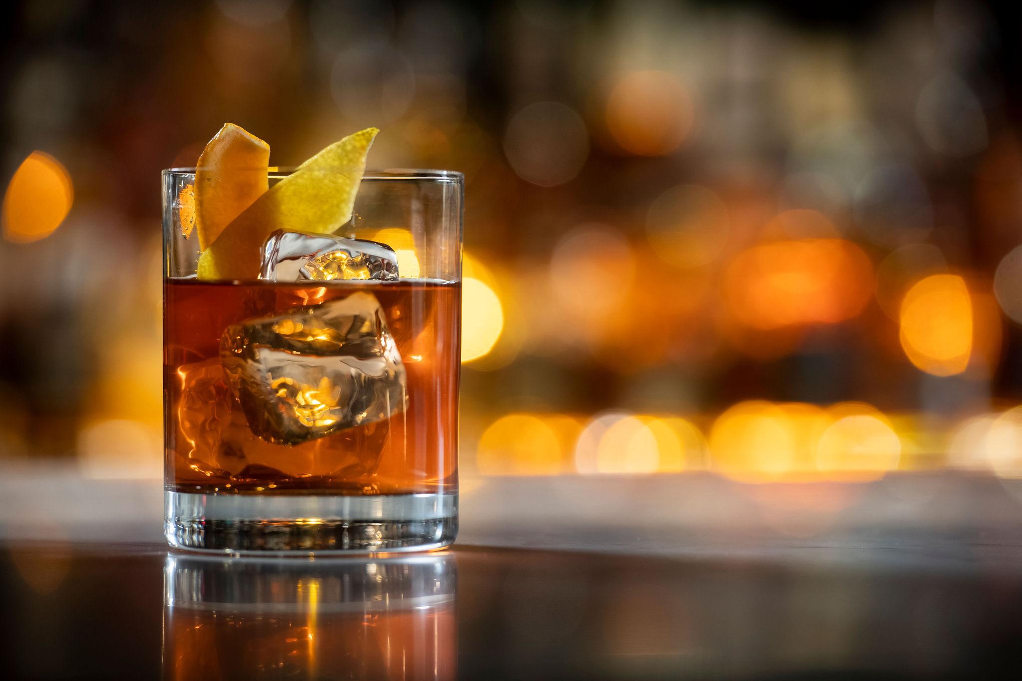 Old Fashion Cocktail On Bar